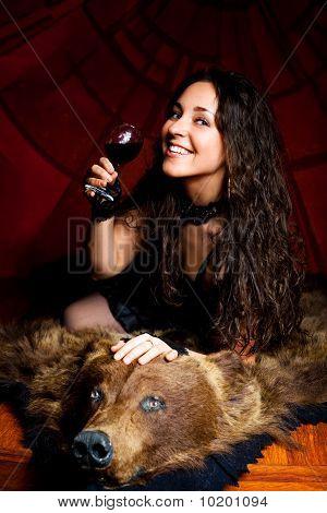 Woman Drinking Vine