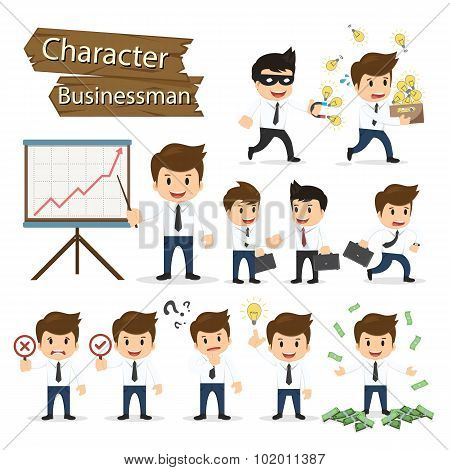 Set Of Business Character Expressing Feeling And Emotional Concept Vector Illustration