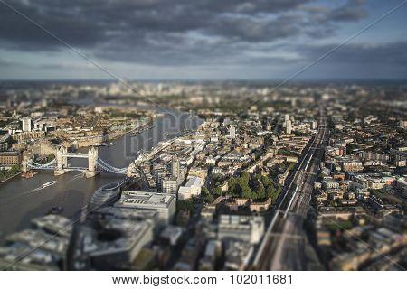 Aerial View Of London With Tilt Shift Model Village Effect Filter