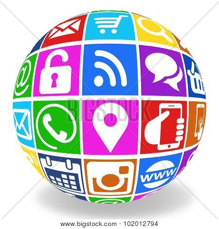 internet icons globe