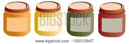 Baby pots, food. Mashed food for baby with label, vectorized