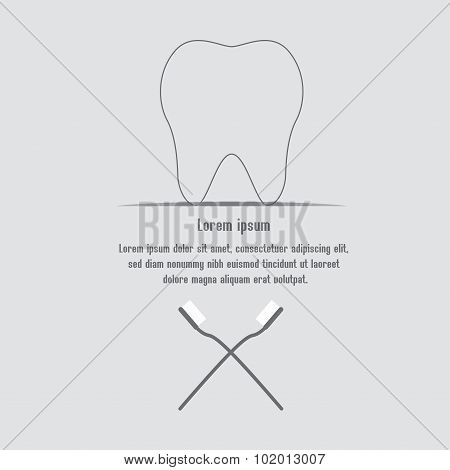 Healthy Teeth Background With Text, Teeth And Toothbrushes.