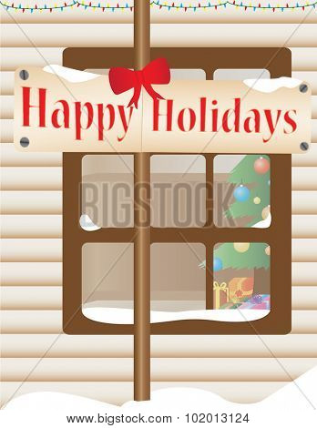 Christmas themed house outdoor with a see-through window Christmas interior