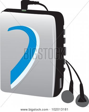 Old style electronic music player (Walkman) fully vectorized.