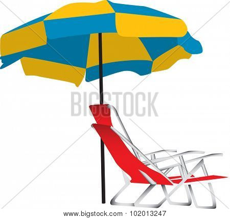 Illustration of a blue and yellow beach umbrella with a portable red lounge chair underneath.  Isolated on a white background.