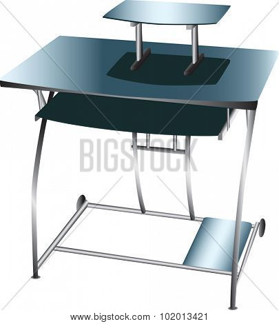 A small desk or workstation specifically designed for a computer with a keyboard tray and monitor stand built in.  White background