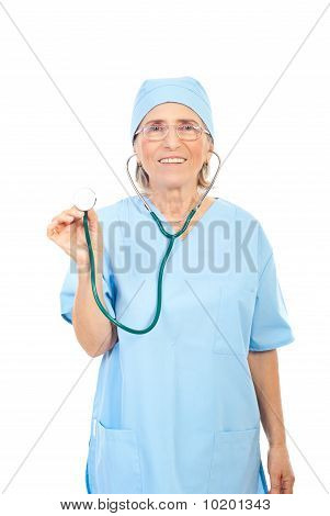 Smiling Senior Physician With Stethoscope