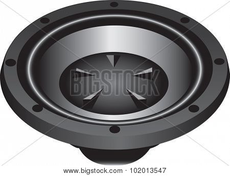 Three dimensional illustration of modern loud speaker, isolated on white background.