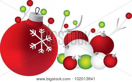 Illustration of Christmas balls in red, green and white, isolated on a white background.