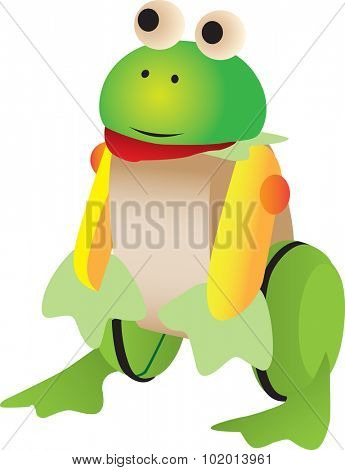 Illustrated, of wooden frog toy isolated on white background.
