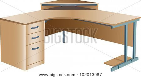 Three dimensional illustration of angled modern wooden office corner desk or workstation, isolated on white background.
