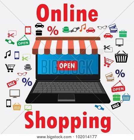On line store. Sale, Laptop with awning.