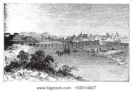 Alexandria city vintage engraving. In Piedmont, Italy, and the capital of the Province of Alessandria. Old engraved illustration, in vector.