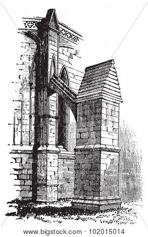 Buttress arch of Lincoln Cathedral chapter, England. Old engraving. Old engraved illustration of a buttres arch of The Cathedral Church of the Blessed Virgin Mary of Lincoln.