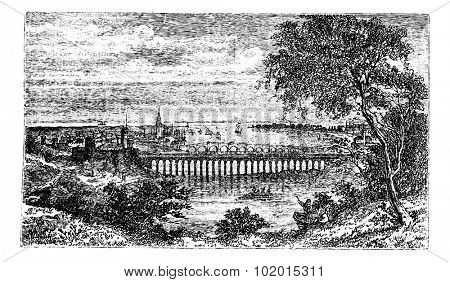 Berwick-upon-Tweed also known as Berwick town, Northumberland, England, old engraved illustration of the town, Berwick, England.