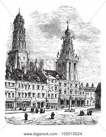 Calais city in France. City square, city hall and lighthouse vintage engraving. Old engraved illustration of a city scen in Calais, 1890.