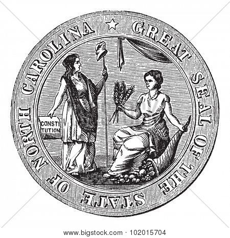 Great seal or hallmark of North Carolina vintage engraving. Old engraved illustration of the Great seal of North Carolina.