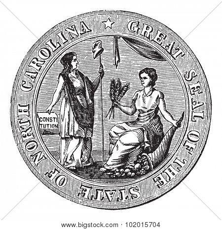 Great seal or hallmark of North Carolina vintage engraving. Old engraved illustration of the Great seal of North Carolina.