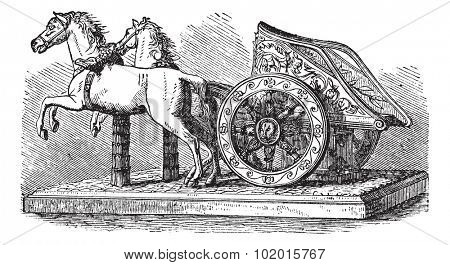 Roman Chariot, vintage engraving. Old engraved illustration of a Roman Chariot pulled by two horses.
