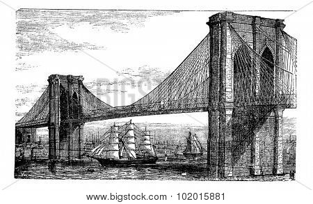 Illustration of Brooklyn Bridge and East River, New York, United States. Vintage engraving from 1890s. Old engraved illustration of the Brooklyn suspension Bridge completed in 1883, with ships