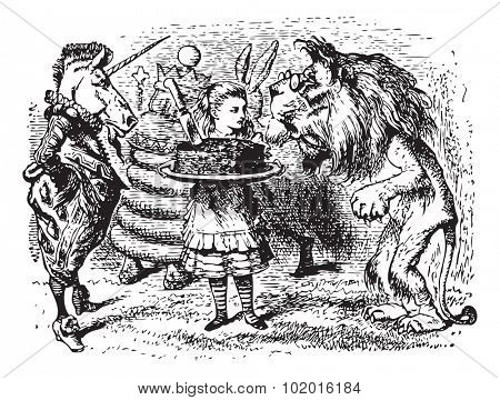 The Lion and the Unicorn - Through the Looking Glass original book engraving. Haigha took a large cake out of the bag, and gave it to Alice to hold, while he got out a dish and carving-knife