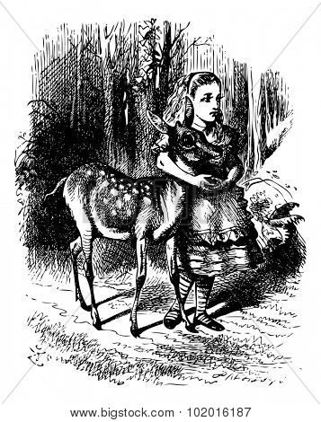 Alice with her arms clasped lovingly round the soft neck of the Fawn - Through the looking Glass and what Alice found there original book vintage engraving.