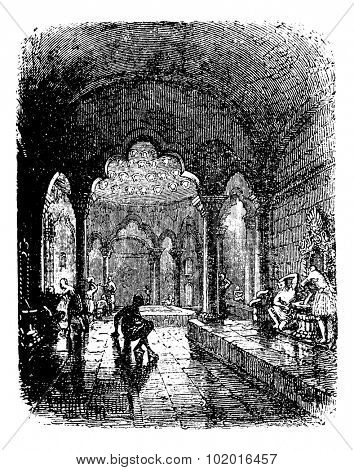 Turkish Bath, during the 1890s, vintage engraving. Old engraved illustration of a Turkish Bath. Trousset Encyclopedia