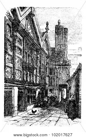 Stanley Palace, in Chester, Cheshire, United Kingdom, during the 1890s, vintage engraving. Old engraved illustration of a street scene in front of Stanley Palace. Trousset Encyclopedia