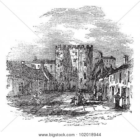 Drogheda in Leinster, Ireland, during the 1890s, vintage engraving. Old engraved illustration of Drogheda showing Saint Lawrence's Gate. Trousset Encyclopedia
