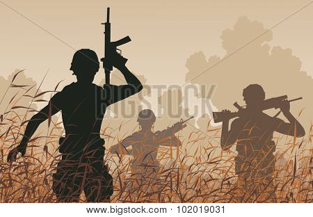 EPS8 editable vector illustration of soldiers on patrol in a reedswamp