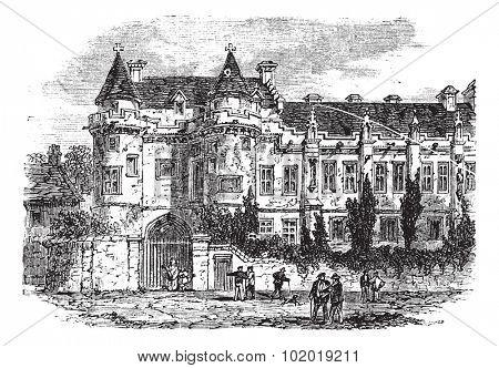 Falkland Palace in Fife, Scotland, United Kingdom, during the 1890s, vintage engraving. Old engraved illustration of Falkland Palace. Trousset Encyclopedia