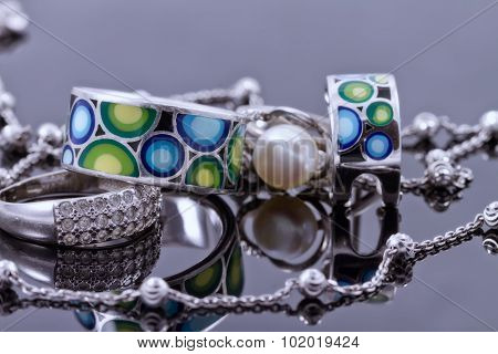 Silver Jewelry With Colored Enamel And Silver Chain