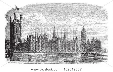 Palace of Westminster or Houses of Parliament or Westminster Palace in London, England, during the 1890s, vintage engraving. Trousset encyclopedia (1886 - 1891)