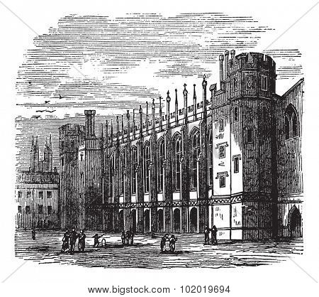 Christ's Hospital in England, during the 1890s, vintage engraving. Old engraved illustration of Christ's Hospital with people in front. Trousset encyclopedia (1886 - 1891)