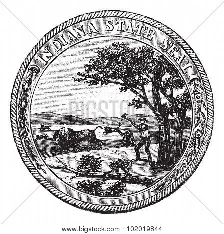 Seal of the State of Indiana , USA, vintage engraving. Old engraved illustration of Seal of the State of Indiana isolated on a white background. Trousset encyclopedia (1886 - 1891)