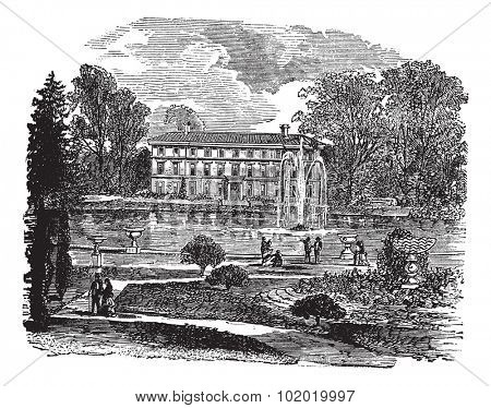 The Royal Botanic Garden and a view of Museum No. 1 vintage engraving. Illustration of The Royal Botanic Garden - Unesco historic site. and a view of Museum No. 1, 1800s.   Trousset encyclopedia