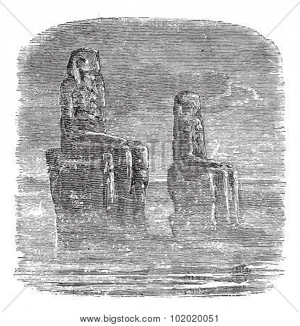 Statue of Memnon, Egypt, vintage engraved illustration. Trousset encyclopedia (1886 - 1891).