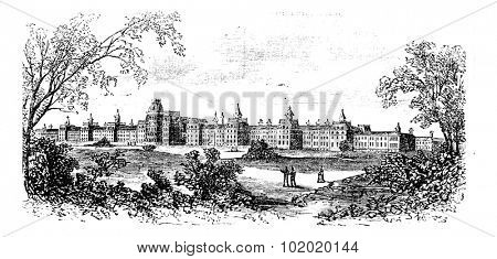 Morristown. insane asylum of the state of New Jersey, vintage engraved illustration. Trousset encyclopedia (1886 - 1891).