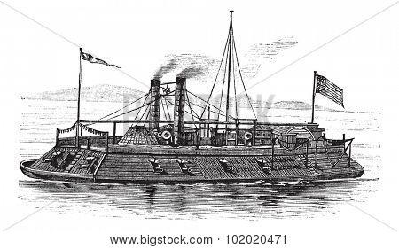 USS Baron DeKalb, vintage engraved illustration. Trousset encyclopedia (1886 - 1891).
