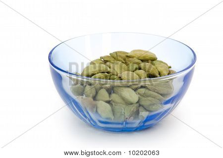 Cardamom pads on white background