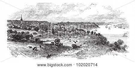 Natchez in Mississippi, USA, vintage engraved illustration. Trousset encyclopedia (1886 - 1891).