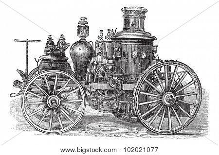 Amoskeag  Steam-powered Fire Engine, vintage engraving. Old engraved illustration of Amoskeag Steam-powered Fire Engine.  Trousset encyclopedia (1886 - 1891).