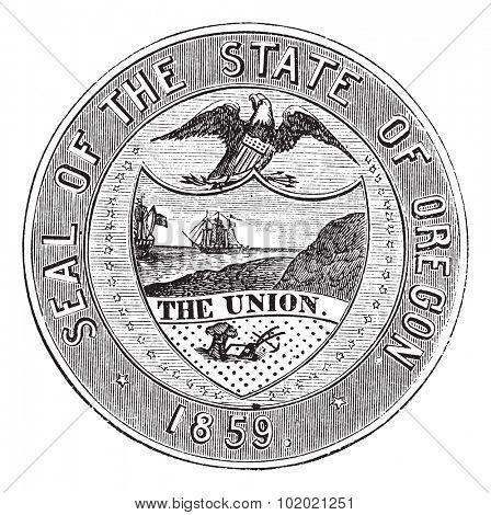 Seal of the State of Oregon, vintage engraved illustration. Trousset encyclopedia (1886 - 1891).