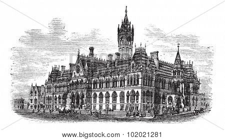 Manchester Assize Courts in Strangeways, Manchester, England, during the 1890s, vintage engraving. Old engraved illustration of Manchester Assize Courts. Trousset encyclopedia (1886 - 1891).