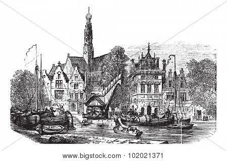 Grain market and Saint-Bavochurch docks, in Haarlem,  Netherlands vintage engraving. Old engraved illustration during the 1890s. Trousset encyclopedia (1886 - 1891).