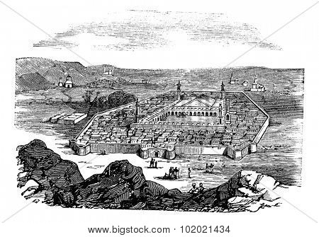 Medina, Saudi Arabia, vintage engraved illustration. Holy city and burial place of Islamic Prophet Muhammad,Trousset encyclopedia (1886 - 1891).