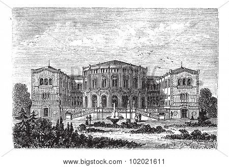 Storting or Parliament of Norway, in Oslo, Norway, during the 1890s, vintage engraving. Old engraved illustration of Storting. Trousset encyclopedia (1886 - 1891).