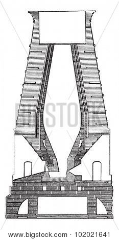 German Blast Furnace, vintage engraved illustration. Trousset encyclopedia (1886 - 1891).
