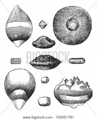 Different forms of hail vintage engraving. Old engraved illustration of different forms of hail. Trousset encyclopedia (1886 - 1891).
