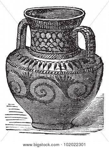 Phoenician vase, vintage engraving. Old engraved illustration of Phoenician vase from cesnola collection New York. Trousset encyclopedia (1886 - 1891).